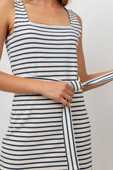 Taylin Chalk Navy Stripe, Women's Sleeveless Midi Dress