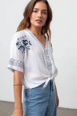 THEA - WHITE BLUE FLORAL EMBROIDERY