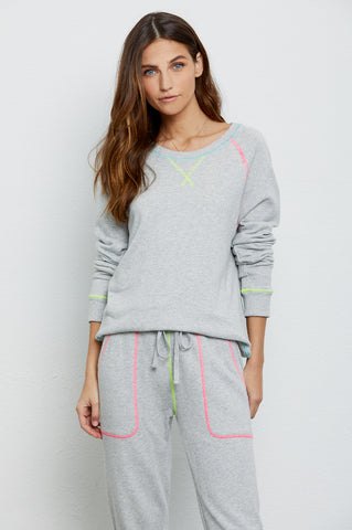 Theo Heather Grey Neon Detail, Women