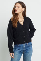 veronica black cardigan sweater front