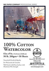 100% Cotton Watercolor Sheets:  Cold Press, 90 - 140 lb., by Bee Paper Co.
