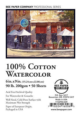 100% Cotton Watercolor Paper 90 lb. (200 gsm) by Bee Paper