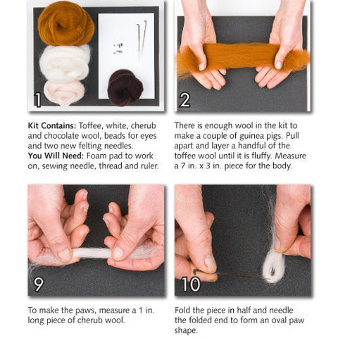 """Guinea Pigs"" Needle Felting Easy Kit by WoolPets"