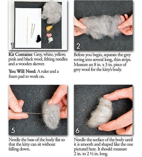 """Kitties"" Needle Felting Easy Kit by WoolPets"