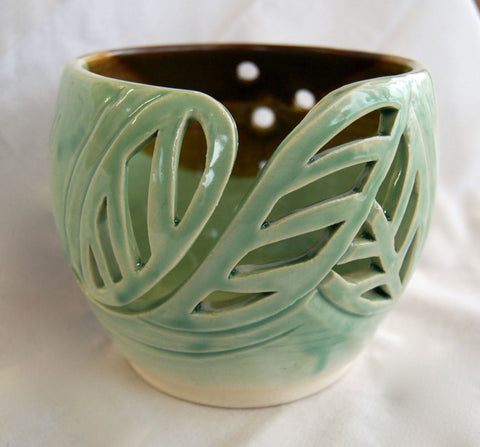 """Falling Leaves"" Stoneware Yarn Bowl by Keren Brown"