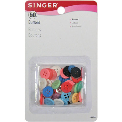 50 Assorted Poly Buttons, Singer Brand