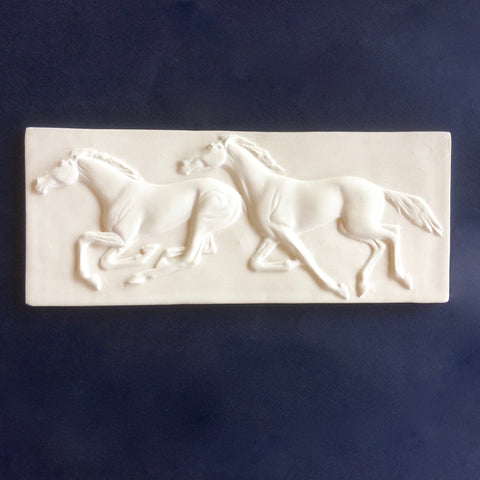 Two Horses Running Plaque