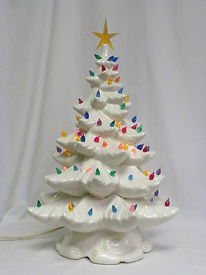 "Large 16"" Vintage Christmas Tree with Lights, Ornaments, and Stand Included"