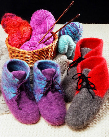 Fiber Trends® Felt Boot Slippers Pattern by Bev Galeskas