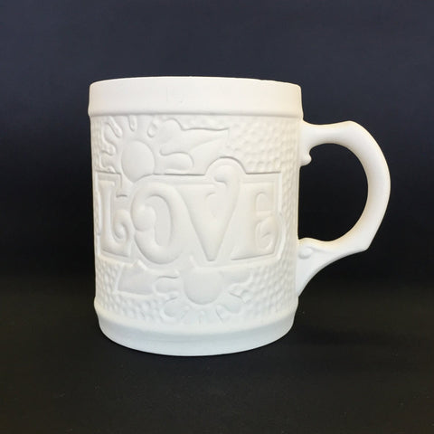 Embossed 'Love' Hippy Vintage Mug