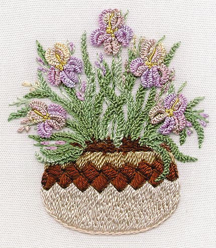 """Irises in Pottery"" Brazilian Embroidery Kit by EdMar"