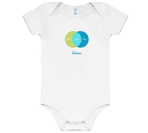 Work Craft Play Onesies in Green/Blue