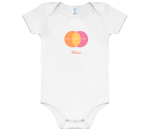 Work Craft Play Onesies in Peach/Orange