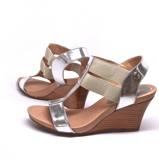 STRETCH WEDGE - SILVER LEATHER