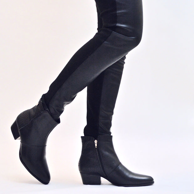 AMUSE ANKLE BOOT - BLACK LEATHER - Chelsea Jones Shoes