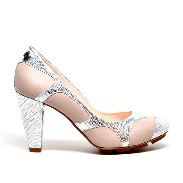 SKIGH PEEK HEEL - SILVER/NUDE LEATHER
