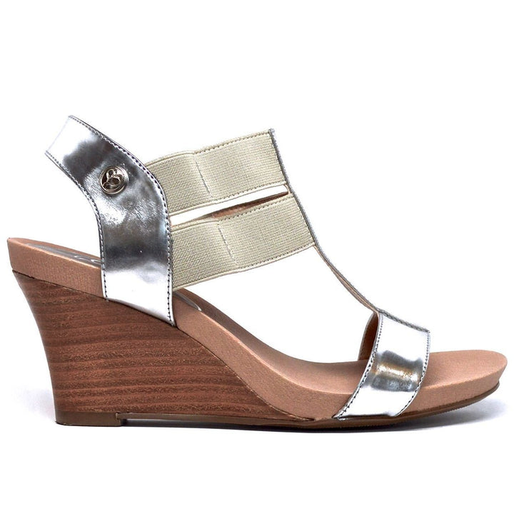 STRETCH WEDGE SANDAL - SILVER LEATHER - Chelsea Jones Shoes