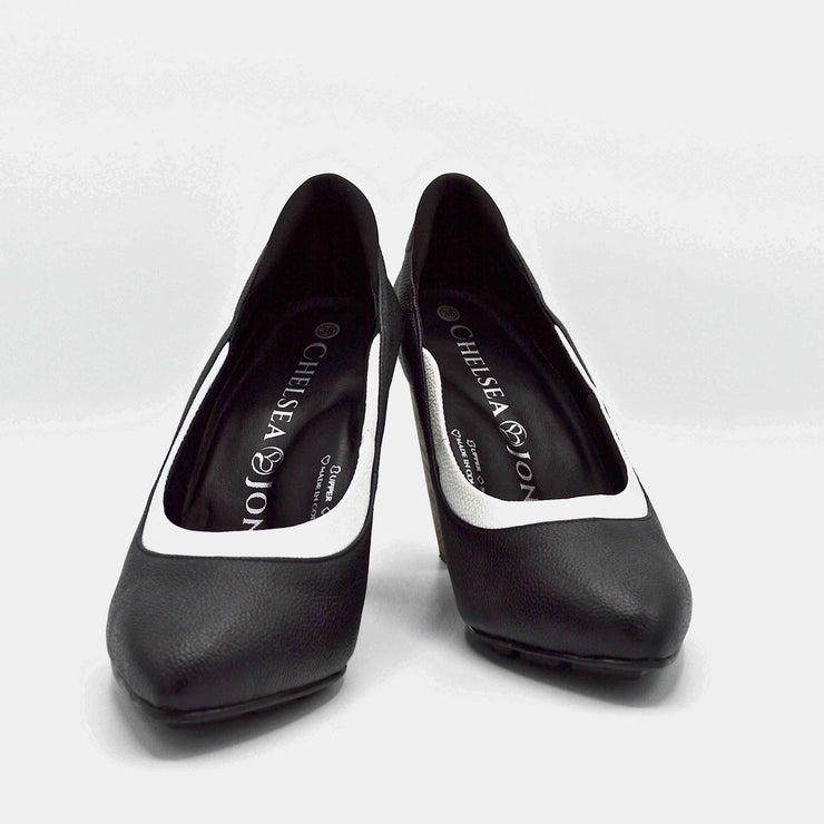 RHYTHM HEEL - BLACK/WHITE LEATHER