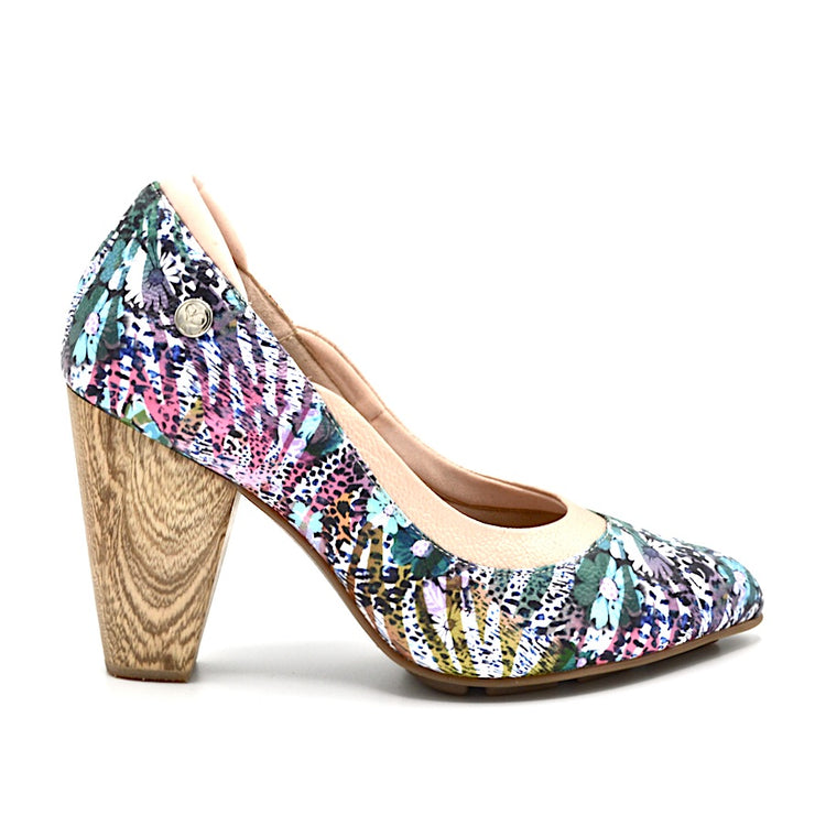 RHYTHM HEEL - FLORAL PRINT LEATHER