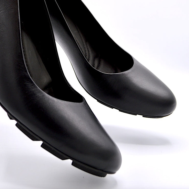 SKIP MID HEEL - BLACK LEATHER