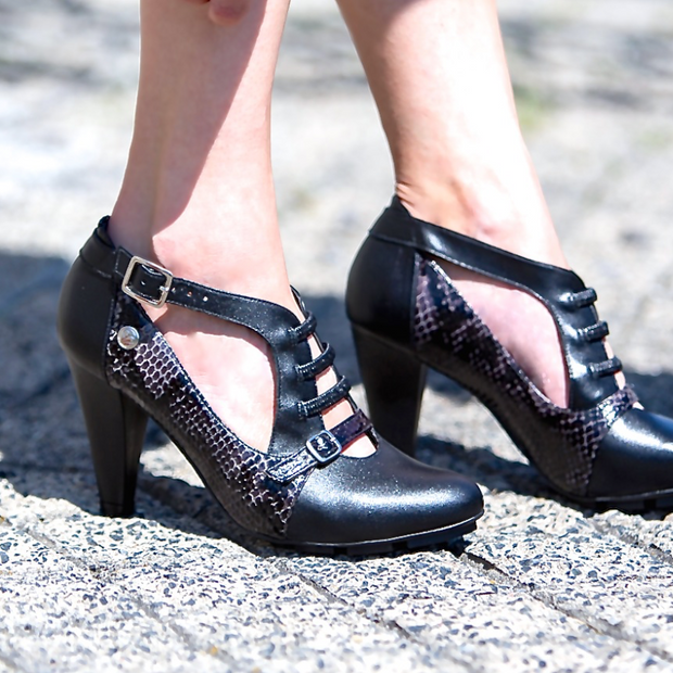 STRATA HEEL - BLACK/PELE LEATHER