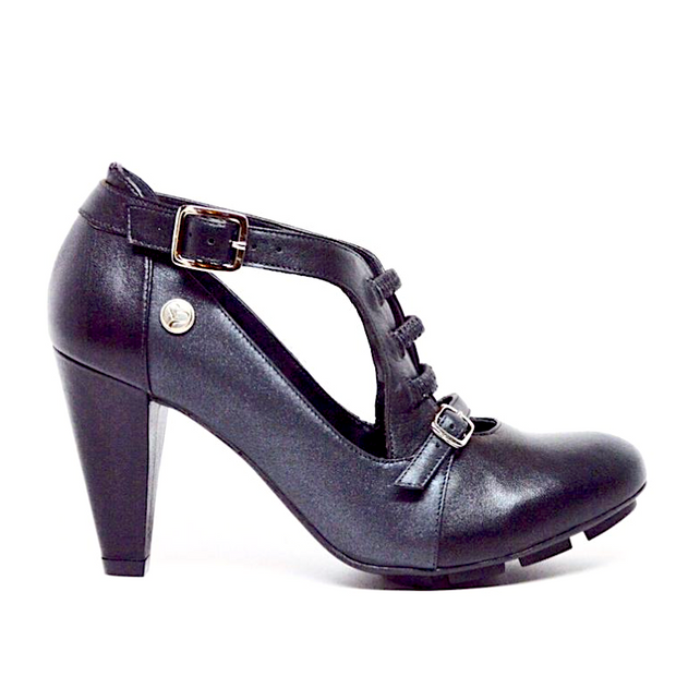 STRATA HEEL - BLACK/PEARL LEATHER
