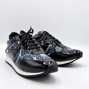TRAIN TRAVEL SHOE - BLUE/PATENT BLACK