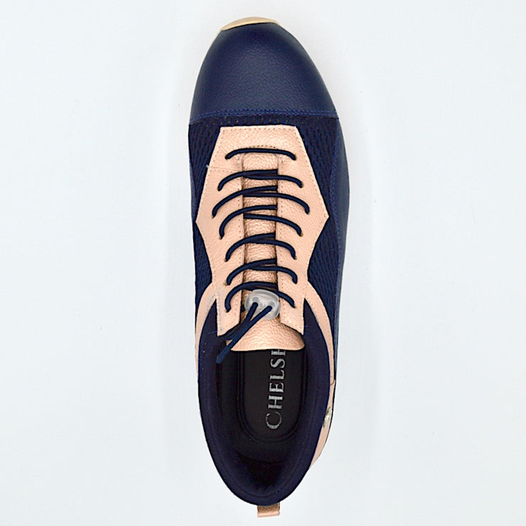 VERSE ELEVATED FLAT - NAVY ROSE LEATHER/MESH