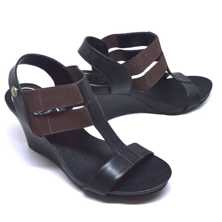 STRETCH WEDGE - BLACK LEATHER