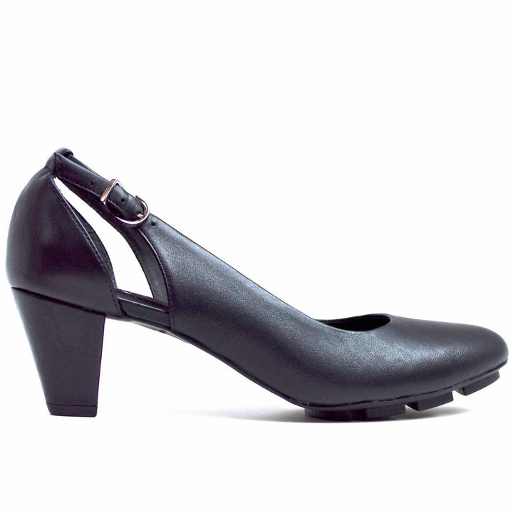 SLIM MID HEEL - BLACK LEATHER - Chelsea Jones Shoes