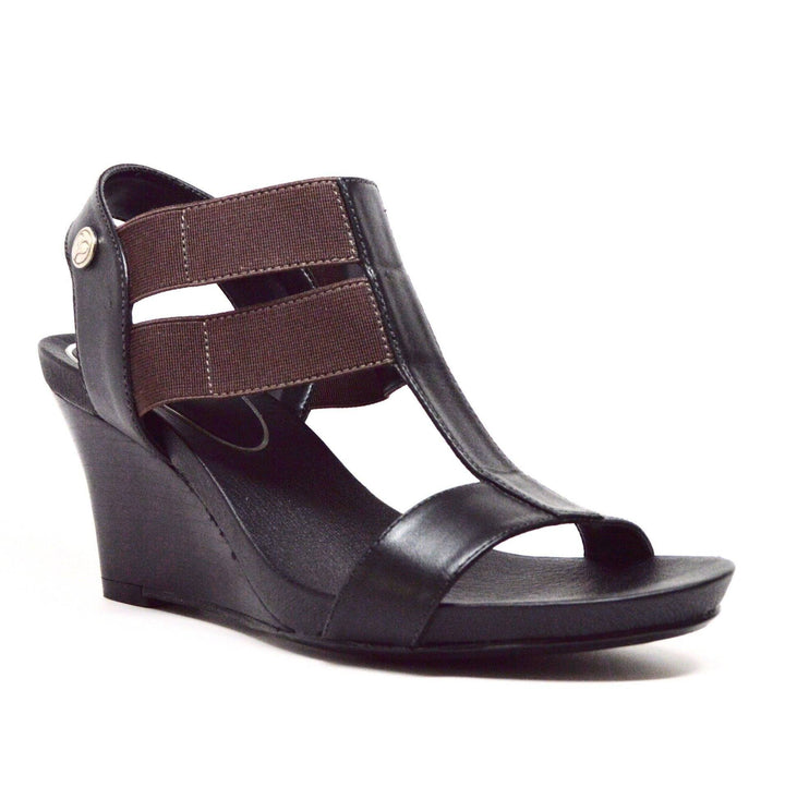 STRETCH WEDGE SANDAL - BLACK LEATHER - Chelsea Jones Shoes