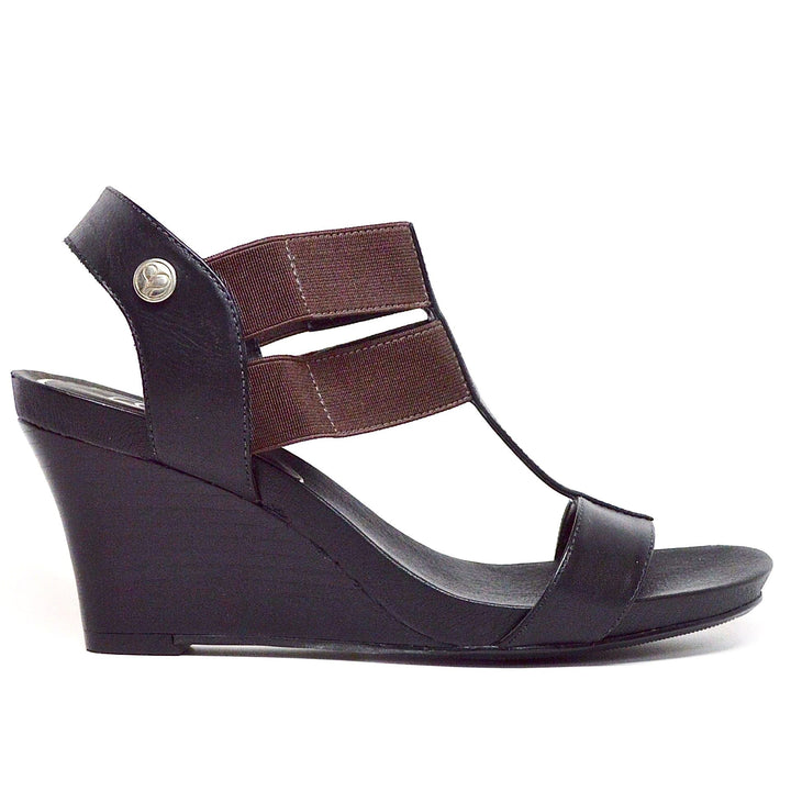 STRETCH WEDGE SANDAL - BLACK LEATHER-Shoes-Chelsea Jones Shoes