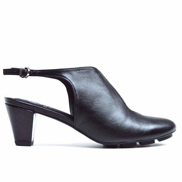 WAVE MID HEEL - BLACK LEATHER - Chelsea Jones Shoes