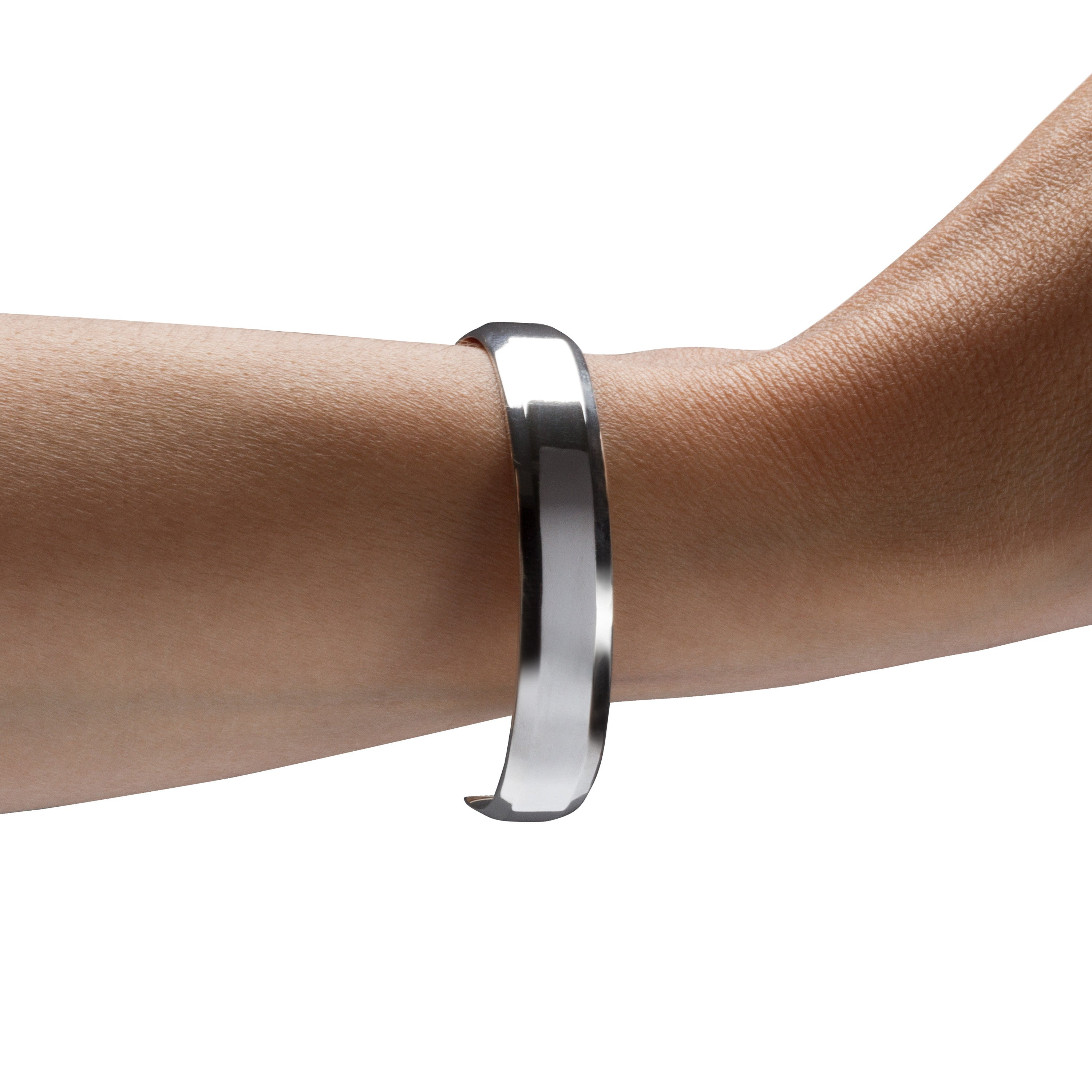 Modern Minimalist Wide Cuff Bracelet in Sterling Silver with Polished Surfaces