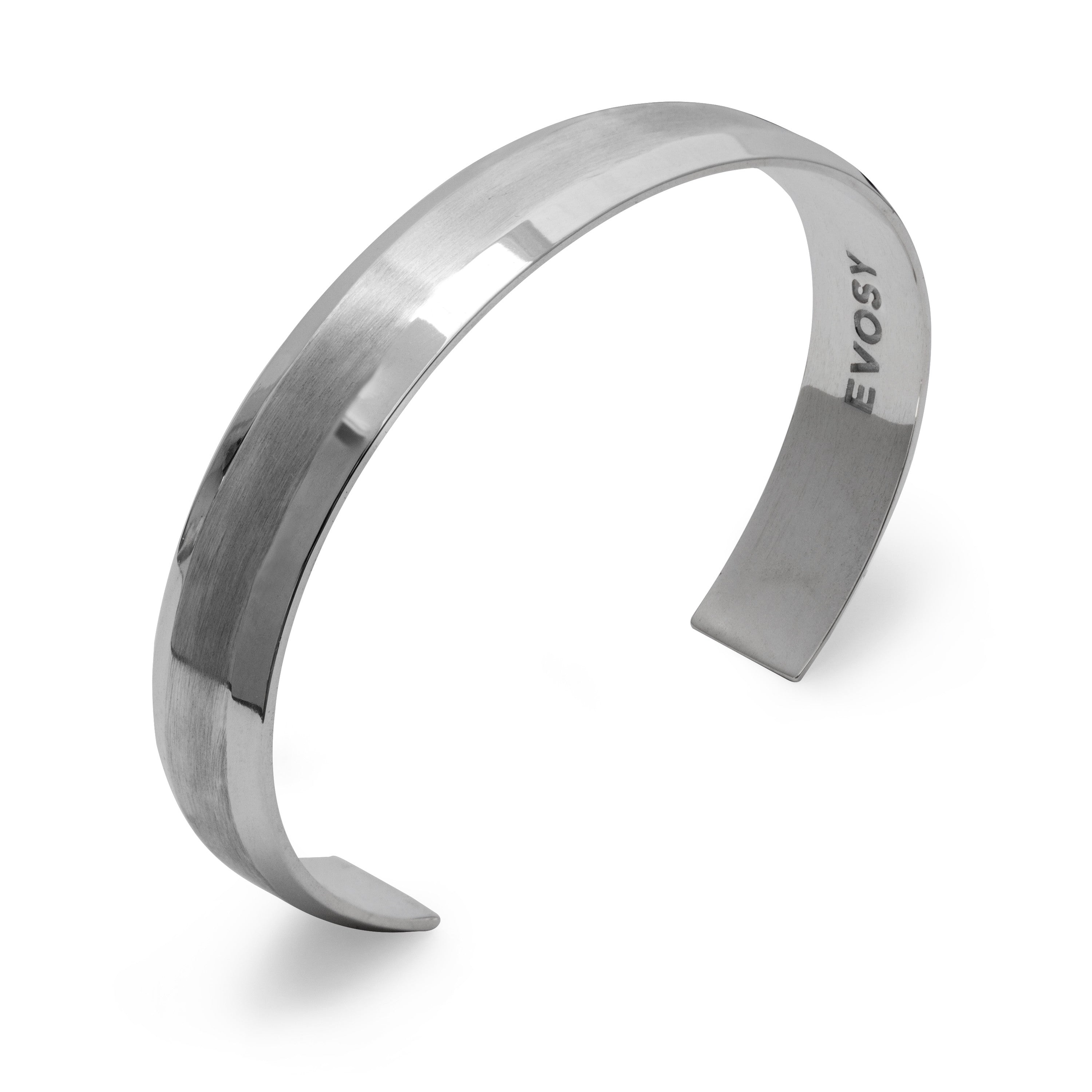 Modern Minimalist Wide Cuff Bracelet in Sterling Silver with Brushed Top Surface