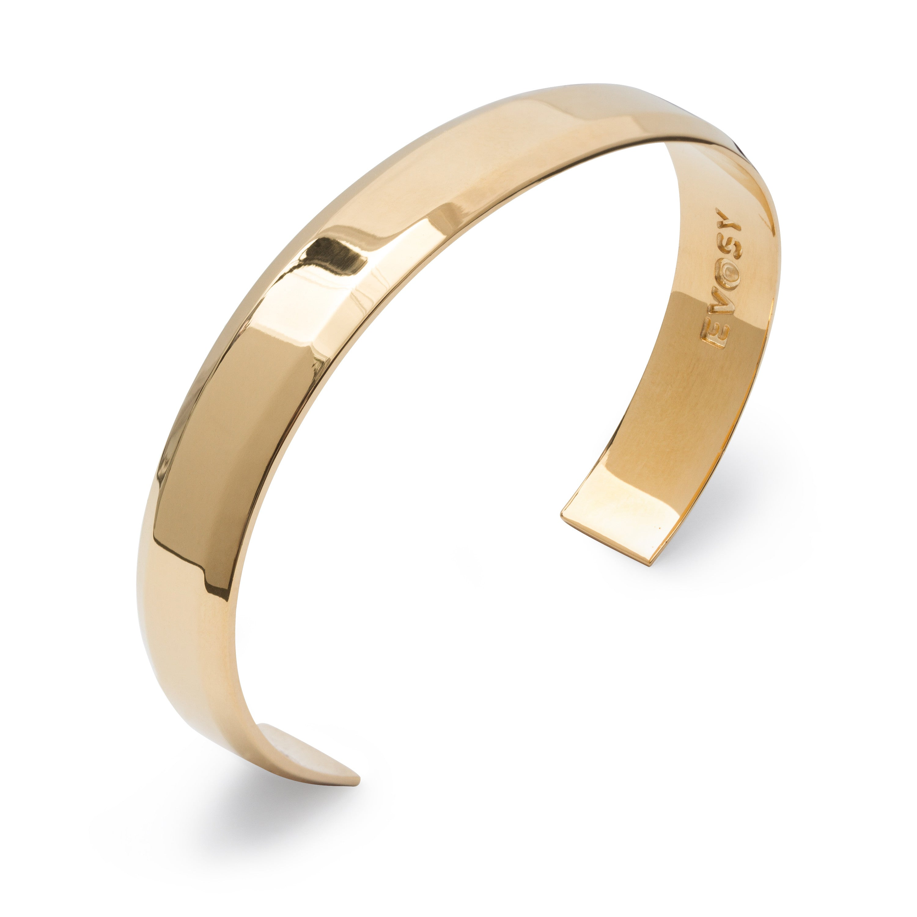 Modern Minimalist Wide Cuff Bracelet in Solid Sterling Silver with 18k Gold Plating