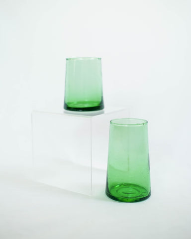Short Flared Green Glass