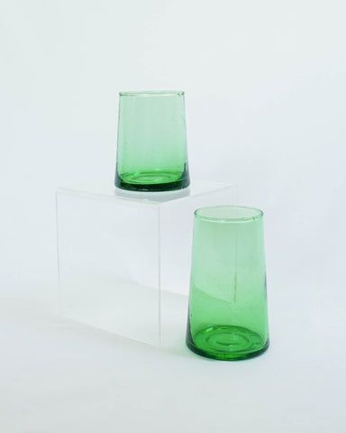 Tall Flared Green Glass