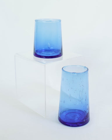 Short Flared Blue Glass