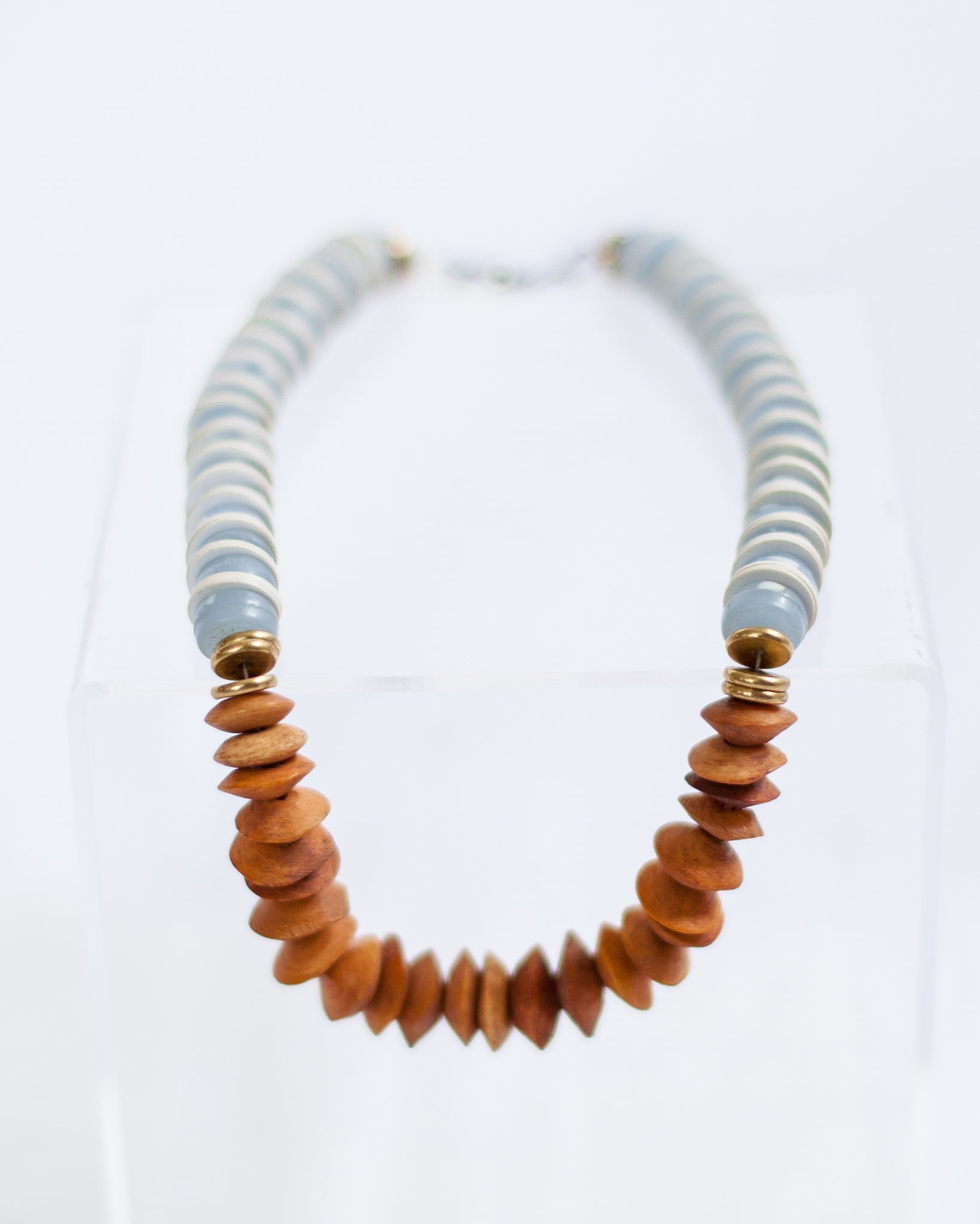 Wood with Blue and White Necklace