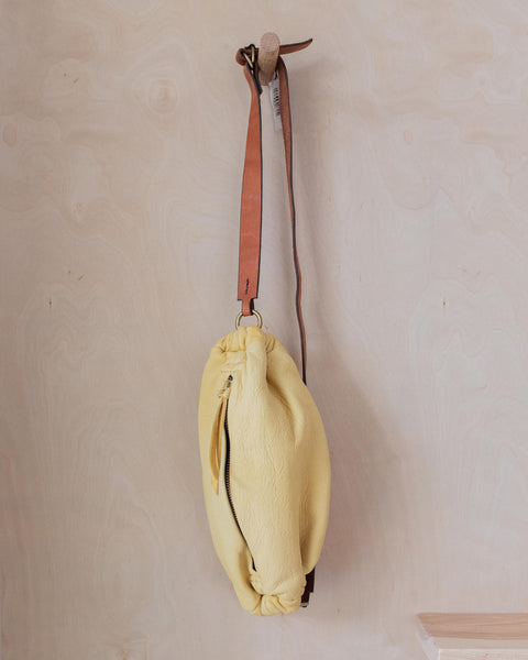 Leather Scrunchie Bag - Pale Yellow