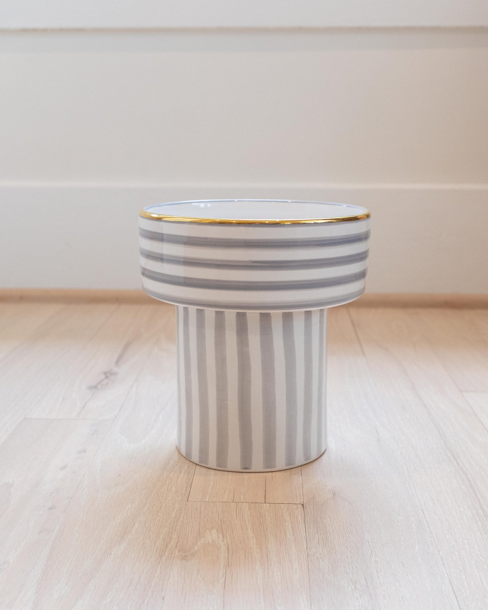 Fruit Cup - Grey & Gold Stripe