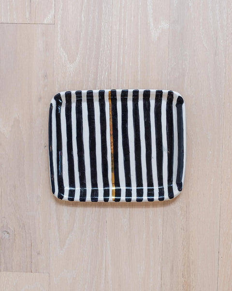 Striped Rectangle Tray - Narrow Stripe