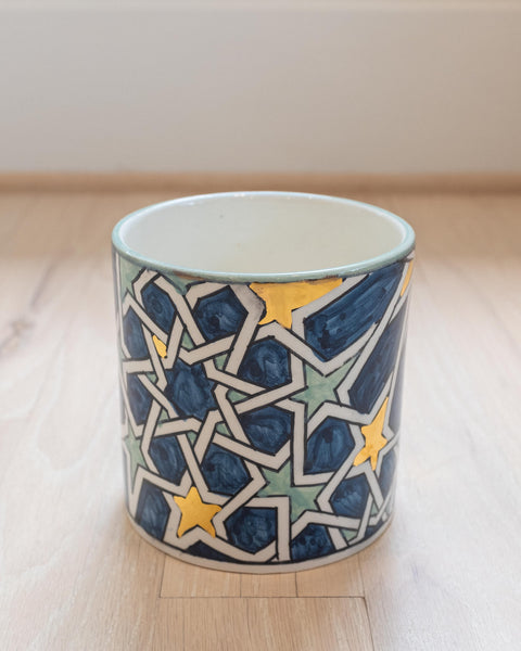 Zellij Straight Pot - Celadon Blue & Gold