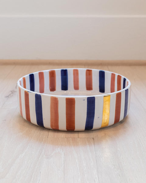 Straight Deep Dish - Ourika Blue & Gold Stripe