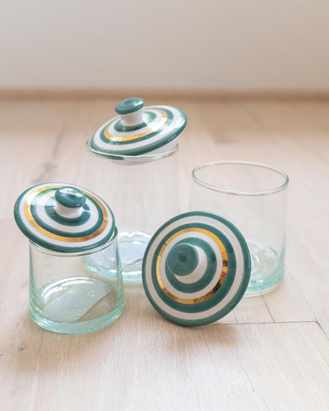 Round Glass Box - Striped Emerald & Gold
