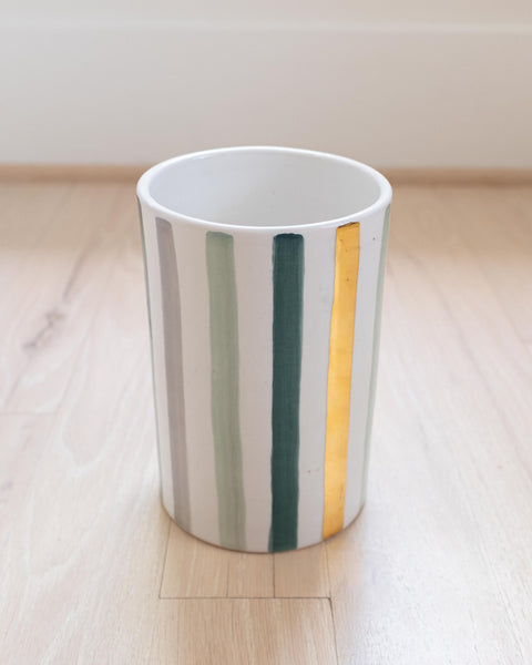 Straight Pot - Celadon Blue & Gold
