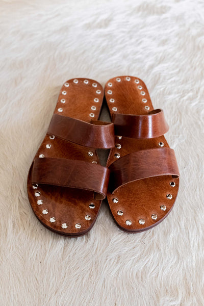 Double Strap Leather Sandal - Camel
