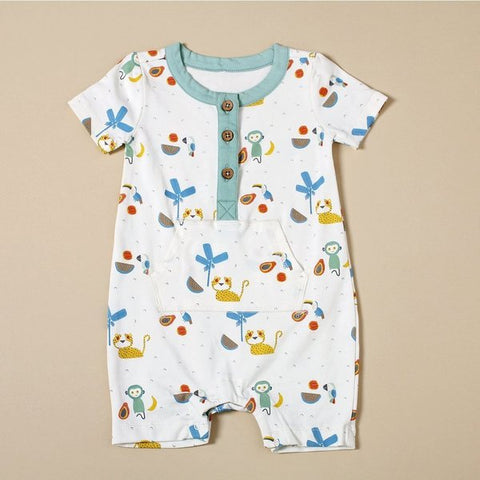 Kangaroo Pocket Romper - Tropical Jungle