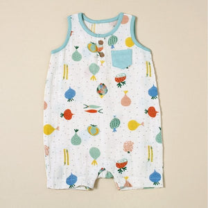 Veggie Salad Sleeveless Romper with Pocket